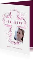 Kommunionskarte eigenes Foto Kreuz Farbspritzer pink