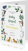 Kraamfeest of Baby Borrel uitnodiging jungle tijgers