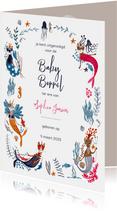 Kraamfeest of Baby borrel uitnodiging met poezen zeemeermin