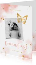 Kraamfeest uitnodiging vlinder goud met waterverf