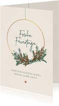 Kunden-Weihnachtskarte moderner Kranz