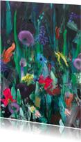 Kunstkaarten - Kunst wilde bloemen paletstukken