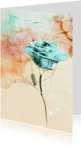Kunstkaart blauwe roos