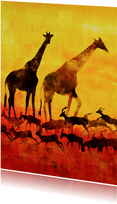 Kunstkaart giraffen en antilopes