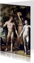 Kunstkaart van Cornelis van Haarlem. De zondeval