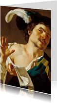Kunstkaart van Dirck van Baburen. Zingende jonge man