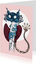 Kunstkaart van een tarsier diertje met doolhof print