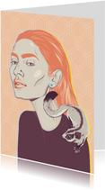 Kunstkaart van een vrouw met vliegende eekhoorn