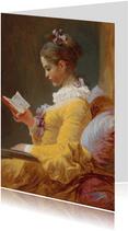 Kunstkaart van Francois Fragonard. De Lezeres