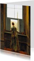 Kunstkaart van Friedrich. Vrouw bij het raam