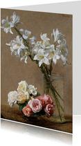 Kunstkaart van Henri Fantin Latour. Rozen en lelies