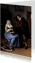 Kunstkaart van Jan Steen. De Koekvrijer