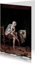 Kunstkaart van Jan Steen. Vrouw maakt haar toilet