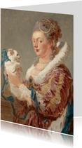 Kunstkaart van Jean Honoré Fragonard. Vrouw met hond