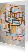Kunstkaart van Piet Mondriaan. Compositie in ovaal met kleur
