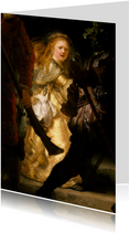 Kunstkaart van Rembrandt van Rijn. De nachtwacht (detail)