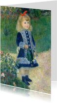 Kunstkaart van Renoir. Meisje met een bloemengieter