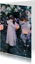 Kunstkaart van Singer Sargent. Kinderen met lampionnen