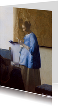 Kunstkaart van Vermeer. Vrouw die een brief leest