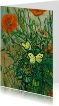 kunstkaart van Vincent van Gogh. Vlinders en klaprozen