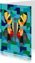 Kunstkaart - Vlinder blauw