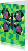 Kunstkaart - Vlinder groen