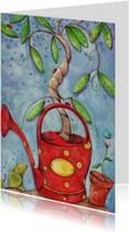 Kunstkaart vrolijke familieboom