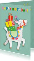 Lama met cadeautjes verjaardagskaart