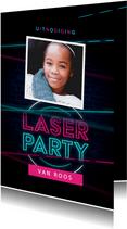 Laserparty kinderfeestje stoer indoor uitnodiging