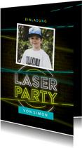 Lasertag Kindergeburtstag Einladung gelb mit Foto