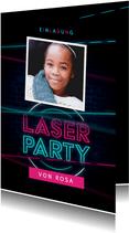 Lasertag Kindergeburtstag Einladung rosa mit Foto