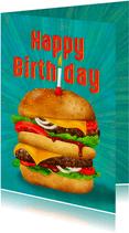Lekkere verjaardagkaart voor jongens, hamburger met kaarsje