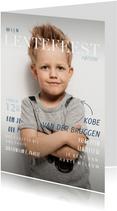 Lentefeest uitnodiging in magazine stijl met foto en teksten