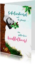 Lief geboorte felicitiatie kaartje met slapende panda