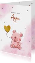 Leuk felicitatiekaartje met een grappig beertje en hartjes