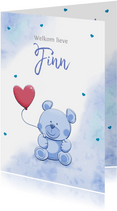 Leuk felicitatiekaartje met hartjes en een grappig beertje