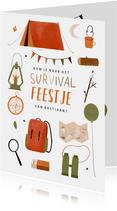 Leuk kinderfeestje survival kampeer outdoor illustratie