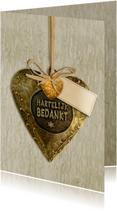 Leuke bedankkaart koper hart op houtprint