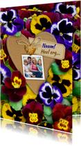 Leuke bedankkaart met kleurige violen en eigen foto