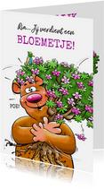 Leuke en grappige verjaardagskaart met beertje en bloemen.