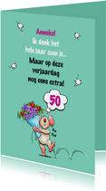Leuke en grappige verjaardagskaart met muisje en bloemen