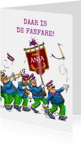 Leuke felicitatiekaart met de fanfare voor de jarige!