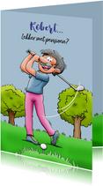 Leuke felicitatiekaart met golfspeler die met pensioen gaat