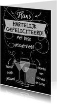 Leuke felicitatiekaart met witte tekst op zwart