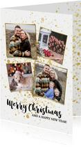 Leuke foto kerstkaart met gouden spetters en typografie