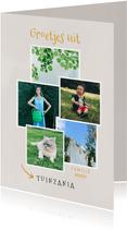Leuke fotokaart collage 'groetjes uit Tuinzania'