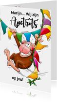 Leuke geslaagd kaart apetrots met aap en vlaggen