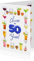 Leuke kaart met glazen, drankjes, bier, wijn en limonade