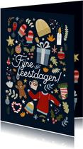 Leuke kerstkaart met vrolijke illustraties en typografie