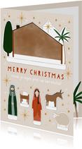 Leuke kinder kerstkaart maak je eigen kerststal illustratie